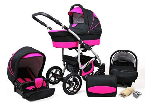 Kinderwagen Largo,3 in 1 -Set Wanne Buggy Babyschale Autositz mit Zubehör Black Magenta
