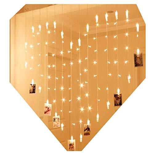 Lalia Led-lichtsnoer voor het ophangen van foto's, notities, hartvorm, stopcontact, warm wit, 1,5 x 1,5 meter, fotoguirlande, wanddecoratie, bruiloft, feest, Valentijnsdag, lichtkettinggordijn