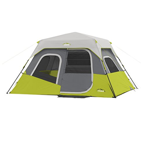 CORE 6 Person Instant Cabin Tent (Green) with Wall Organizer