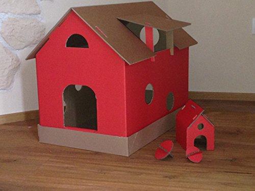 Katzenhaus natur/rot aus Wellpappe, Katzenkorb, Katzenhöhle