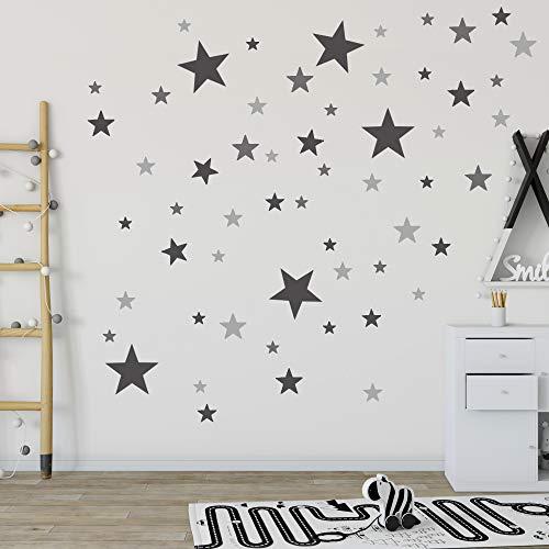 Homery Wandtattoo Kinderzimmer, 120 Stück Sterne Pastell Wandsticker selbstklebend - Wanddeko Aufkleber für Baby, Kinder oder Schlafzimmer (Schwarz/Grau)