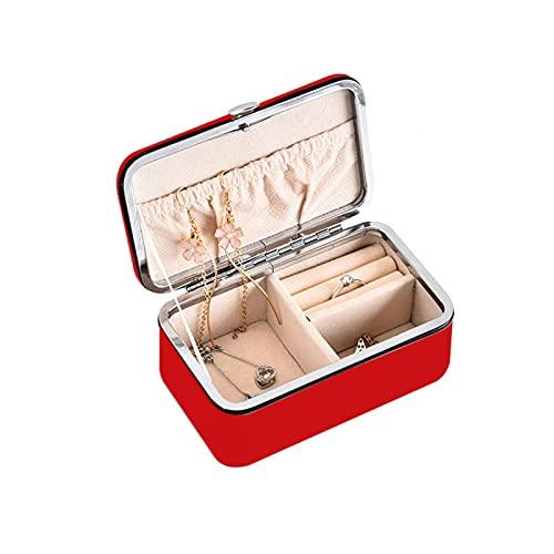 MOVKZACV Joyero de viaje organizador de cuero PU portátil grande joyería almacenamiento caso para collar, pendientes anillos pulseras