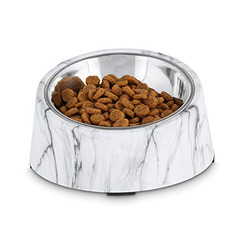 Petco Brand - Harmony Slanted Marble-Print Base and Stainless-Steel Dog Bowl Set, 1.7 Cups, Medium, White