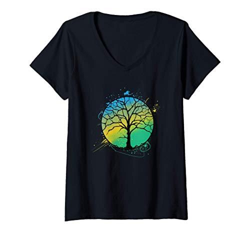 Mujer Regalo del árbol de la vida El árbol de la vida Camiseta Cuello V