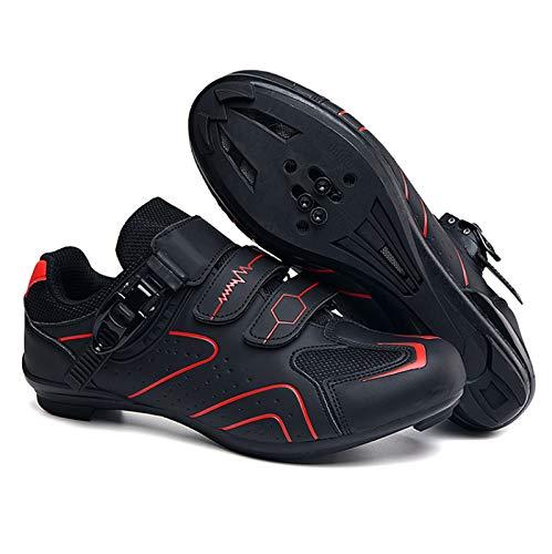 AGYE Calzado de Ciclismo Hombre, Zapatos De Bicicleta De Carretera para Hombres Zapatos De Ciclismo para Mujeres Zapatos Giratorios Bloqueo Antideslizante para Adultos,Red-41