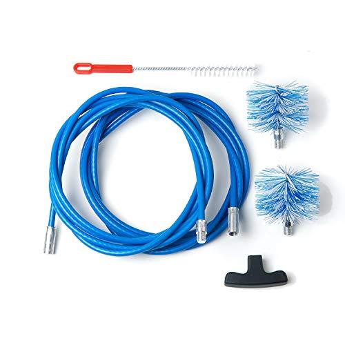 BARETTO Kit de limpieza para estufa de pellet - Extensión de 6 metros, curva máxima de 90 ° - 2 cepillos de nailon estándar (1 de 80 mm y 1 de 100mm)