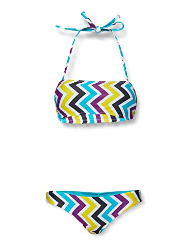 ARENA W Allover Bandeau ADJ Back Bikini mit verstellbarem Rücken, 2 Stück, Damen, 003722, Multicolore (Provenza Multi), 36