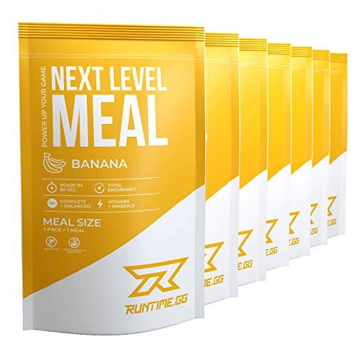 Runtime Next Level Meal - vollwertiger Mahlzeitersatz für langanhaltende Sättigung, Energie, Konzentration und Leistungsfähigkeit, mit Vitaminen und Nährstoffen, 7 x 150g (Banana)