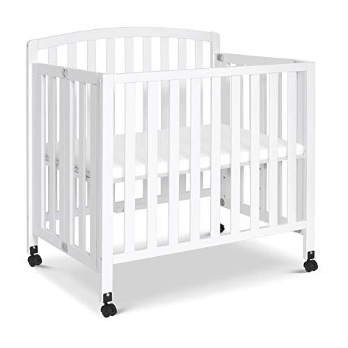 DaVinci Dylan Folding Portable 3-in-1 Mini Crib and Twin Bed in White | Greenguard Gold Certified