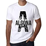 Hombre Camiseta Vintage T-Shirt Letter A Countries and Cities Algona Blanco