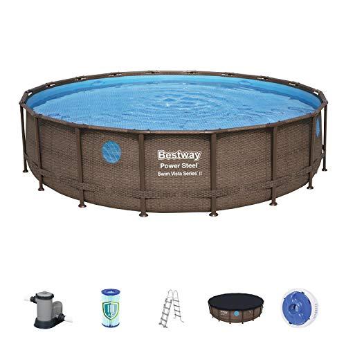 Bestway Power Steel Swim Vista 549x549x122 cm, Frame Pool rund im Komplett Set mit Bullauge, inkl. Filterpumpe, Leiter und Abdeckplane