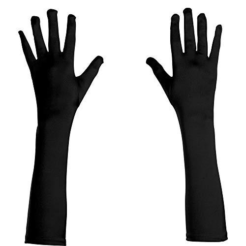 WIDMANN Guantes largos de raso, elastano, para adultos, color negro, de 43cm. Código: 3429N