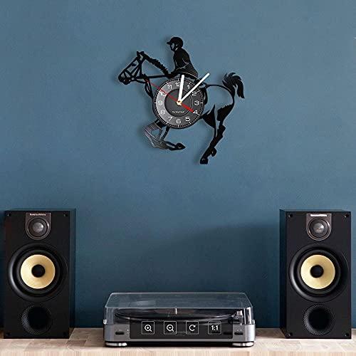 QIANGTOU Reloj de Pared Jinete a Caballo Disco de Vinilo Caballo de Salto Decoración del hogar Jinete con Reloj Colgante de luz