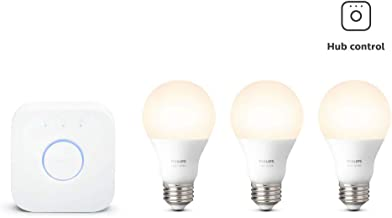Philips Hue White LED Smart Light Bulb Starter Kit, 3 A19 Smart Bulbs & 1 Hue Hub, (Works with Alexa, Apple HomeKit, and Google Assistant)
