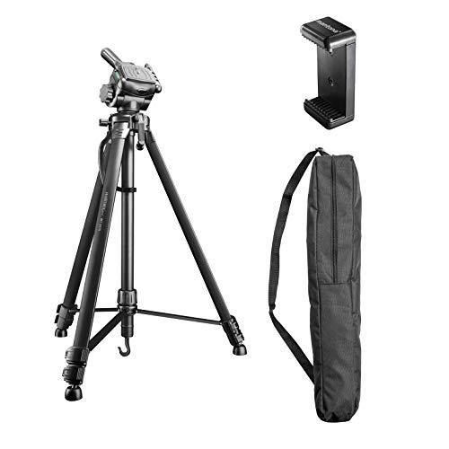 Walimex pro WT-3570 Basic Stativ 168cm schwarz – 4kg Traglast, großes und stabiles Foto Video Stativ mit 3-Wege Panorama Kopf, ideal für Kamera und Handy Aufnahmen, inkl. Tasche und Smartphone Halter