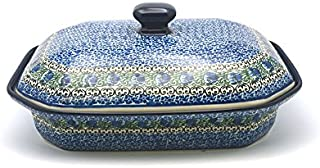 Polish Pottery Baker - Rectangular Covered - Large - Peacock Feather
