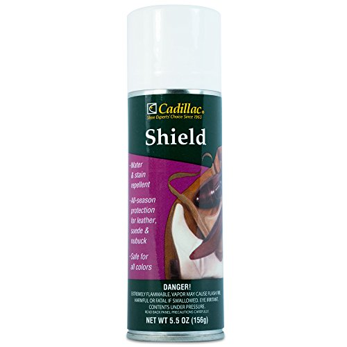 Cadillac Shield Water and Stain - Leather and Fabric Protector Spray - Great for Shoes - 5.5 oz - Waterproof and Protect Suede, Leather, Nubuck, Fabric, Nylon, Polyester & More