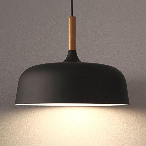 Modern Pendelleuchte Lampenschirm Wohnzimmer Schlafzimmer LED Hängeleuchte Metall Pendelleuchte Hängeleuchte 1x E27 max. 60W, Ø 32 cm (Schwarz)