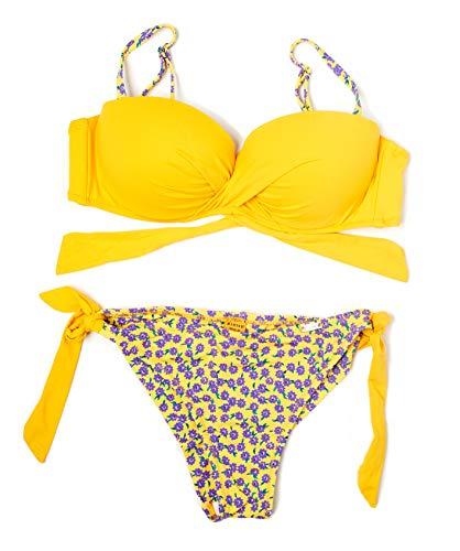 Marine- Bikini con Top de Escote Cruzado y Braga brasileña (Amarillo Miel, 34)