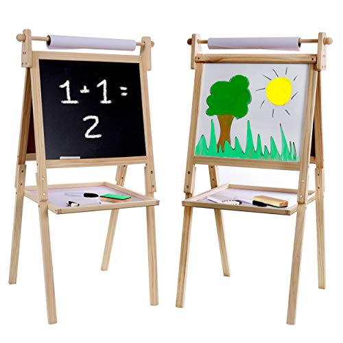 Kraftic Deluxe Standing Art Easel - Drawing Chalkboard, Magnetic Whiteboard, Dry Erase Board, Paper Roll and Accessories