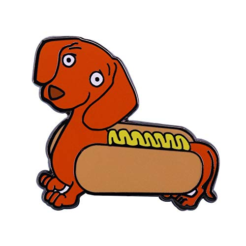 JKDFGJ Sausage Dog Badge Cute Dachshund Pin Funky Personality Perfect Punny Gift Approx 30mm