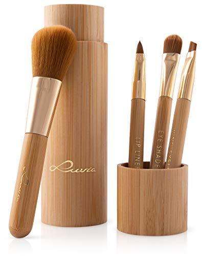 Pinselset Makeup Mit Behälter, Luvia Bamboo's Tube, 4 Echte Bambus Schminkpinsel inkl. Pinselaufbewahrung Und Zwingen In Gold, Vegan Und Frei Von Tierversuchen, Ideale Geschenkidee Zu Weihnachten