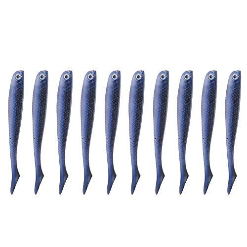 Duokon Señuelos de Pesca Keenso, 10 señuelos de Pesca de lubina ecológicos de PVC para Agua Dulce y Salada(1 # Negro Azul)
