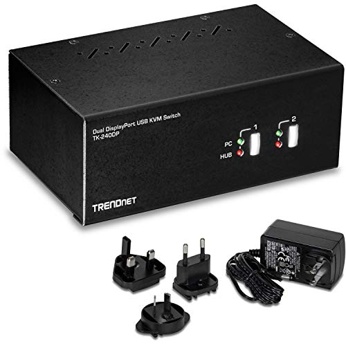 TRENDnet 2-Port Dual Monitor DisplayPort KVM Switch with Audio, TK-240DP, 2-Port USB 2.0 Hub, 4K UHD Resolutions Up to 3840 x 2160, Connect Two DisplayPort Monitors, Dual Monitor 2 Port KVM Switch