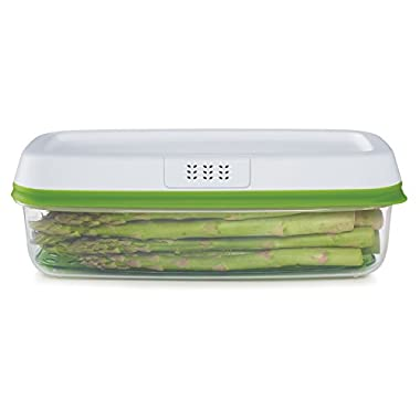 Rubbermaid Freshworks Produce Saver Food Storage Container, Long Rectangle, 8.4 Cup, Green 1996983