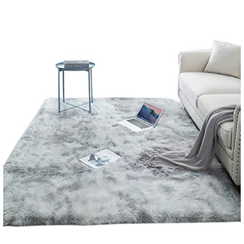 Bibykivn Shaggy Modern Teppich, Teppichunterlage Antirutschmatte, Als Faux Bett-Vorleger oder Matte, Langflor Teppiche fürs Wohnzimmer, Schlafzimmer, Esszimmer oder Kinderzimmer (Hellgrau,160x230 cm)