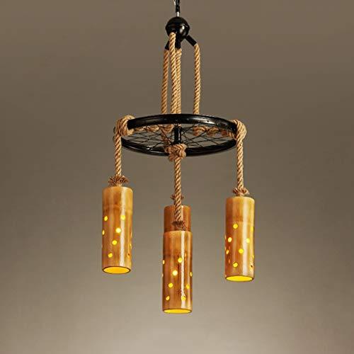 LJF Lampe . Lámpara de araña retro americana, cuerda de cáñamo, bambú, con personalidad, creativa, restaurante, bar, cafetería, tienda de ropa, E27 * 4/7 cabezas (tamaño: 4 cabezas)