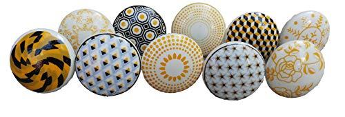 Xfer - Set di 10 pomelli in ceramica a forma di fiore, stile vintage, colore: oro e giallo