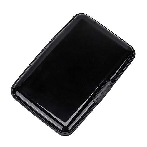 Elfish RFID Blocking Credit Card Protector Aluminum ID Case Hard Shell Business Card Holders Metal Wallet for Men or Women (Black)