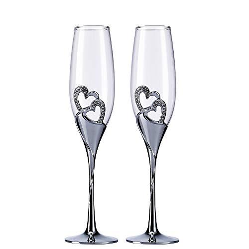 Creative Heart Set de copas de champán – Copas de boda para novia y novio – Juego de tazas de tostado para parejas – compromiso, boda, regalo de inauguración de la casa plata