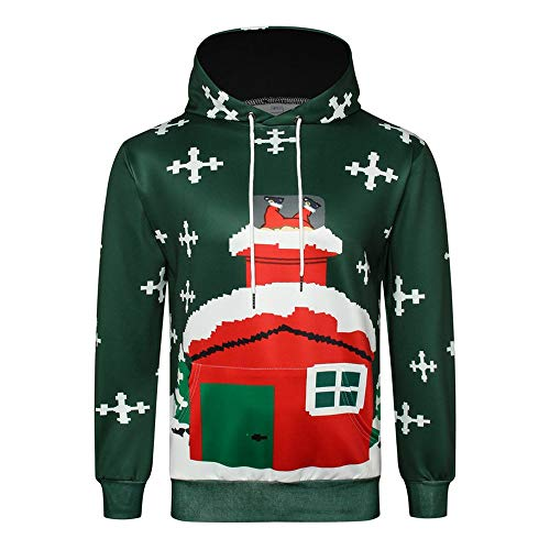 HUIYIYANG Tees Creative Christmas Day Outfits Go for 3D Printed Red House Hoodies with Long Sleeves Cy5011 XXL