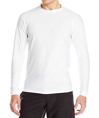 Loose Fit Swim Shirts For Men - Long Sleeve UV 50 + Sun Protection Swimwear - Play In The Sun All Day With No Sunburn - The Softest Most Comfortable Swimming Clothing (White, Large)