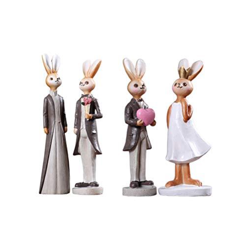 LIOOBO figuritas de Conejo Resina Estatua de Animales Estatua de colección Estatua decoración de Escritorio para el hogar