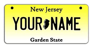 BleuReign(TM Personalized Custom Name New Jersey State Motorcycle Moped Golf Cart License Plate Auto Tag