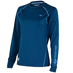 Mossy Oak Women's Long Sleeve Performance Tech Fishing Shirt, Deep Sea Blue, Medium