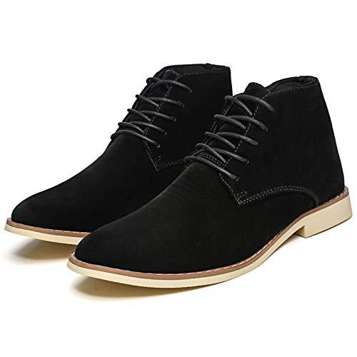 YQY Hombres Botas, Caliente de Cuero de Gamuza Top del Alto de los Zapatos Ocasionales de Tendencia Esmerilado Zapatos de Cuero pequeña Hombres Zapatos Todas correspondan, Unisex,Negro,41