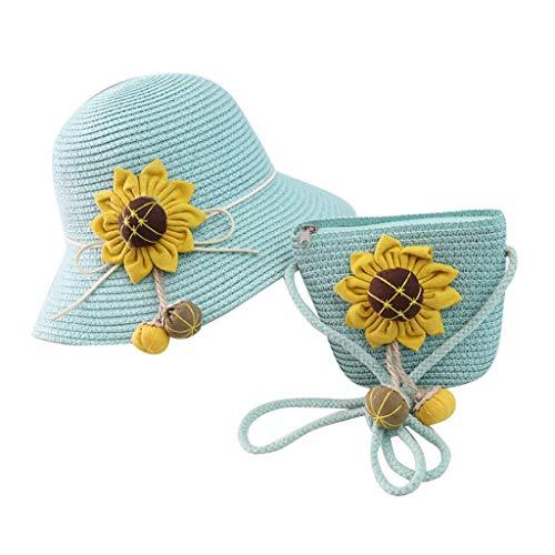 Sombrero de Paja niña Dos Piezas Sombrero y Bolso con Flores Anti UV Protección Solar Gorra Transpirable ala Ancha Sombrero para el Sol al Aire Libre Viaje Beach Paja Hat 2-8 años