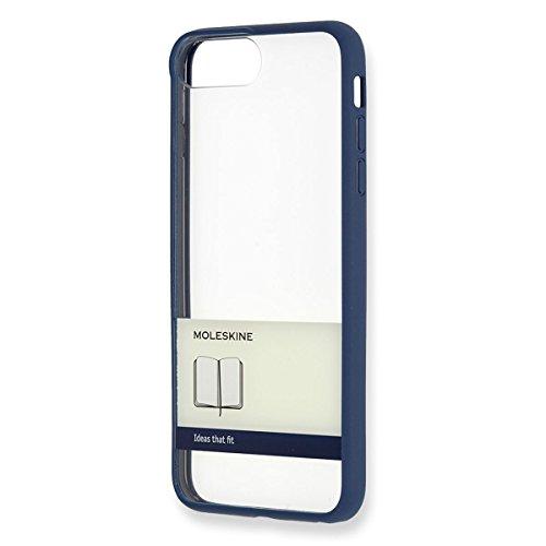 Moleskine hard etui (doorzichtige papieren banderol), Hoes voor Apple iPhone 7Plus, blauw