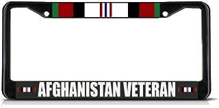 Sign Destination Metal Insert License Plate Frame Afghanistan Veteran Military Weatherproof Car Accessories Black 2 Holes Solid Insert Set of 2