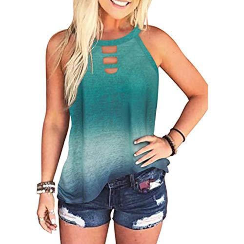 YANFANG Moda Mujer Leopardo/Tie-Dye Sin Mangas Blusa De Verano Casual Camisas,Jersey Angora,Camiseta Mujer,Camiseta Escote Mujer,Camisetas Hombro Fuera,Verde,L