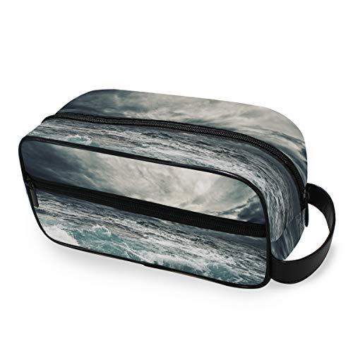Ocean Storm Ladies Portable Travel Makeup Bag Tools Cosmetic Train Case Storage Trousse de toilette