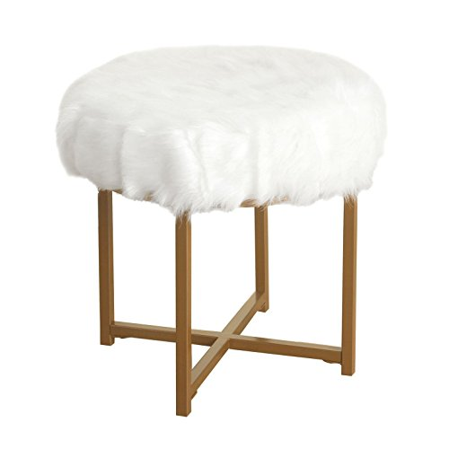 HomePop Round Faux Fur Stool with Metal Base, White