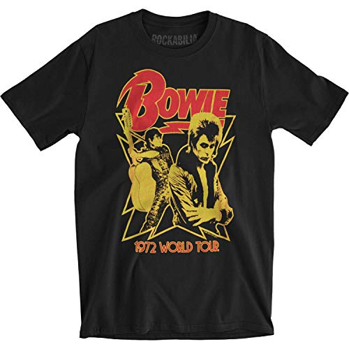 David Bowie - Uomo 1972 World Tour Fitted T-Shirt in Nero, Size: Medium, col.
