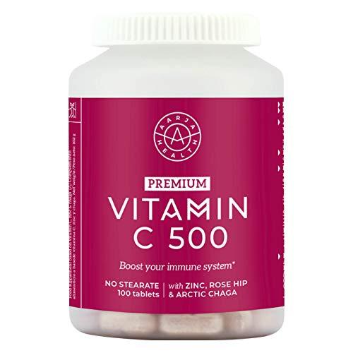 Aarja Health - Vitamina C 500mg con Zinc y Rosa Mosqueta - 100 comprimidos - Altamente concentrada - Efecto Antioxidante - Fortalece Sistema Inmunológico - Sin Gluten y Vegano