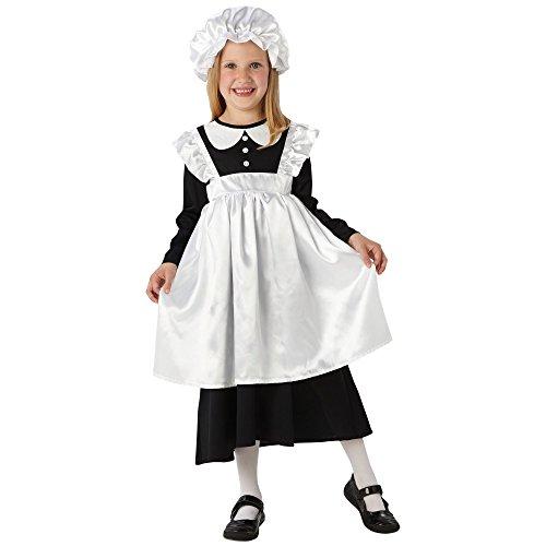 Rubies Traje de sirvienta victoriana. Medio 5-6 años. altura de hasta 116cm. Vestido con delantal adjunto y tapa fregona.