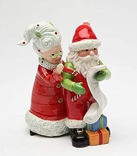 Fine Ceramic Mr. & Mrs. Santa Claus Checking Christmas Wish List Salt and Pepper Shakers Set, 4